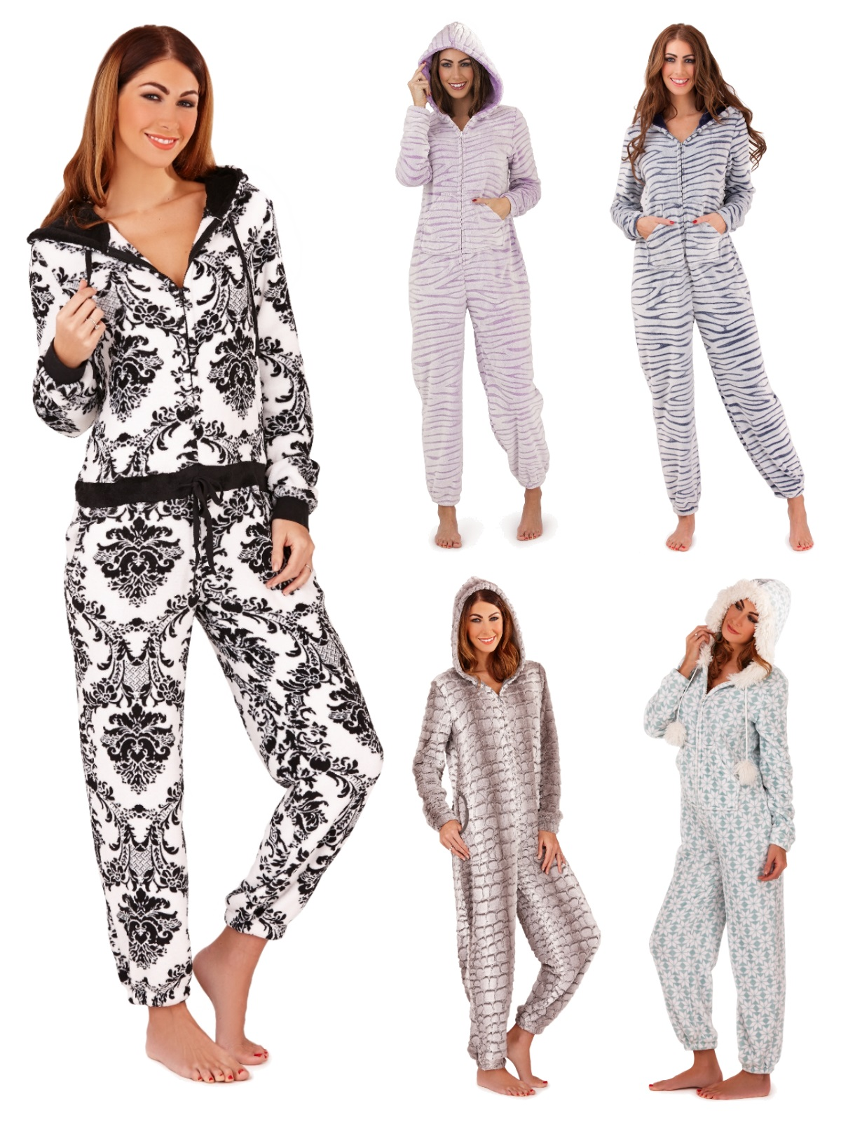 Womens Luxury Onesie Hooded All In one Pyjamas Pjs Jumpsuit Ladies ... 52d5ad958