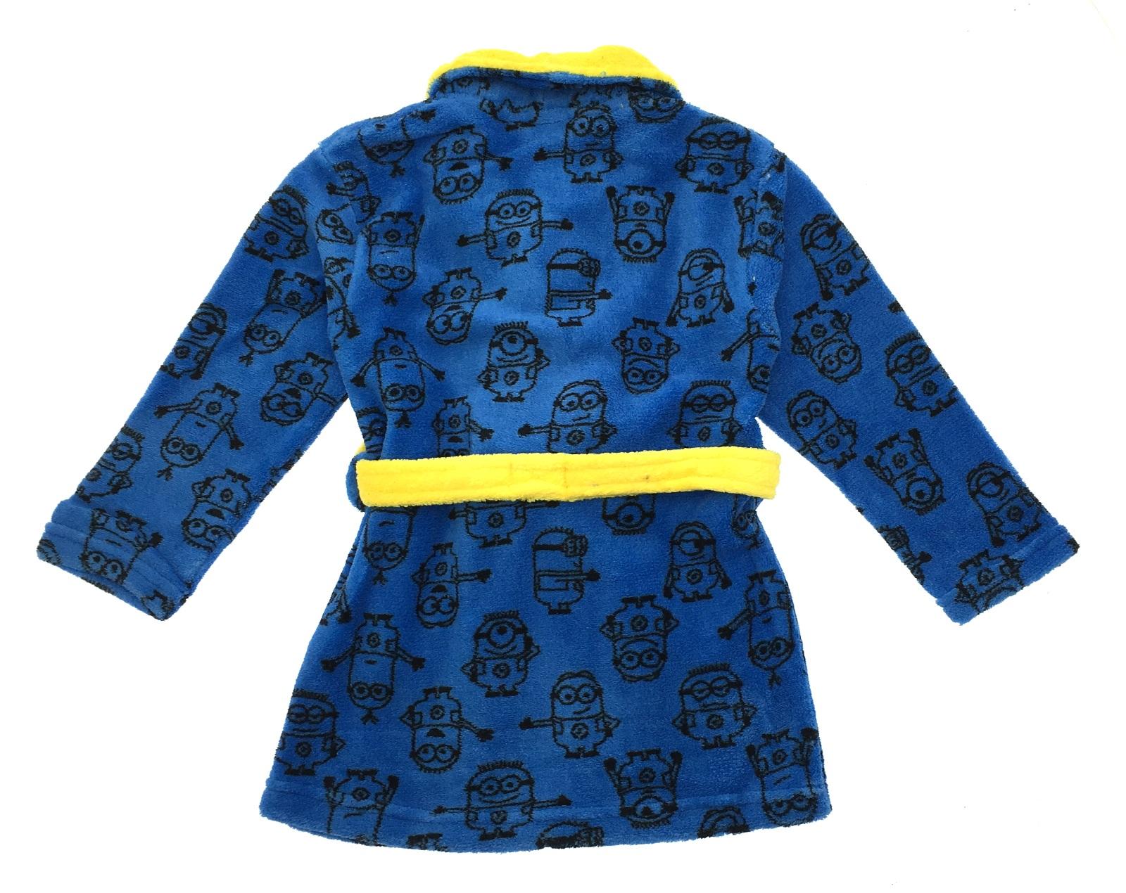 Boys Girls Despicable Me Minions Fleece Bath Robe Kids Dressing