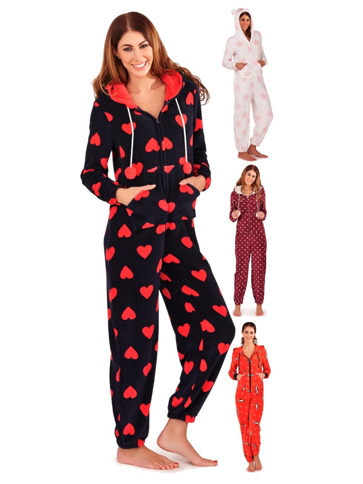 73bedd142135 Womens Luxury All In One Hooded Pyjamas Pjs Jumpsuit Ladies Onezie Onezee  Size