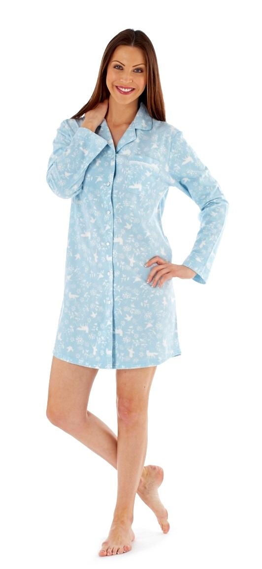 Womens Fleece Nightdress Nightshirt Nighty Nursing Pyjamas Ladies ... 7ae6a8609
