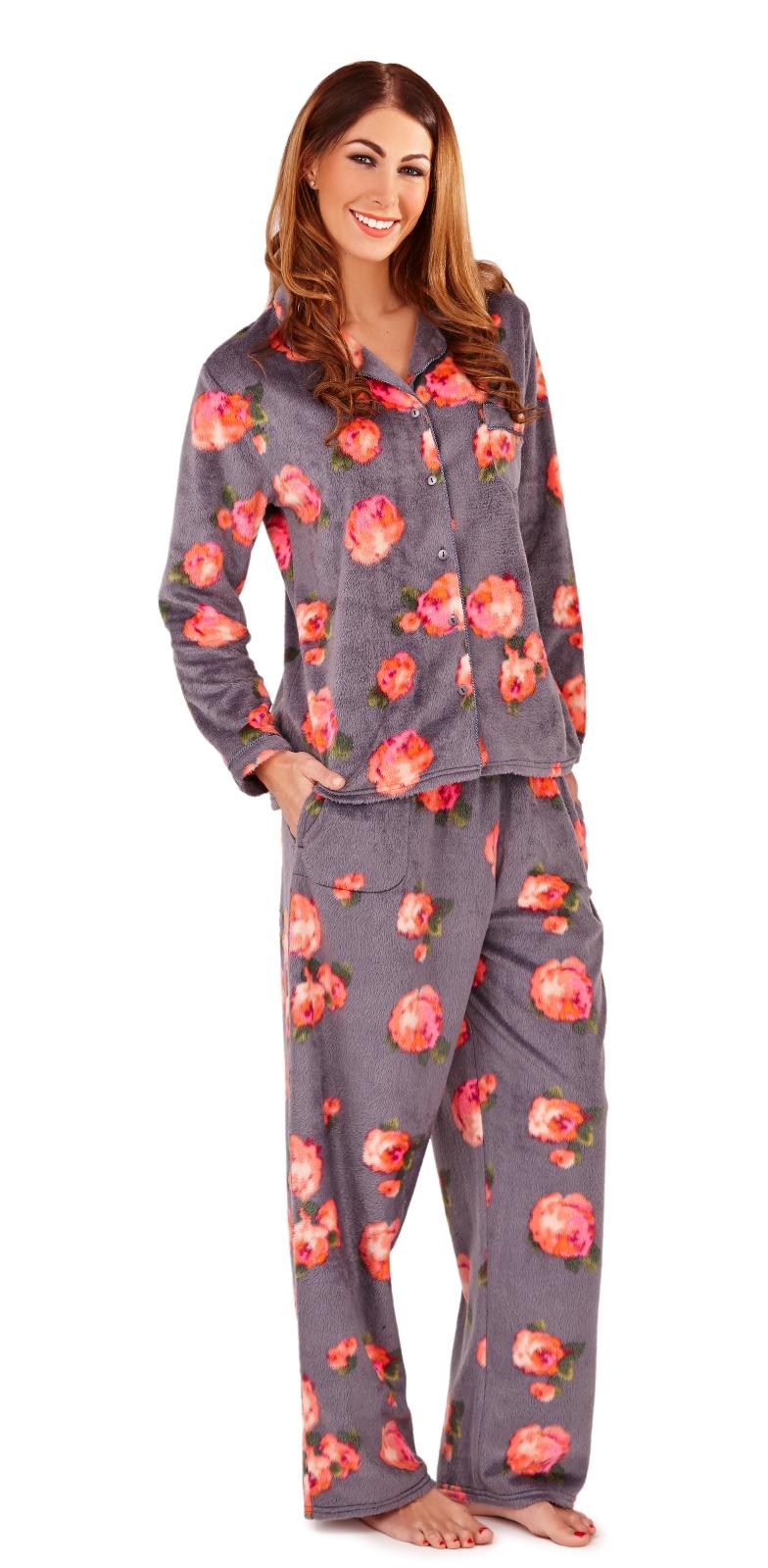 88a031de5 Para Mujer De Lujo de longitud completa cepillado Polar Pijamas ...