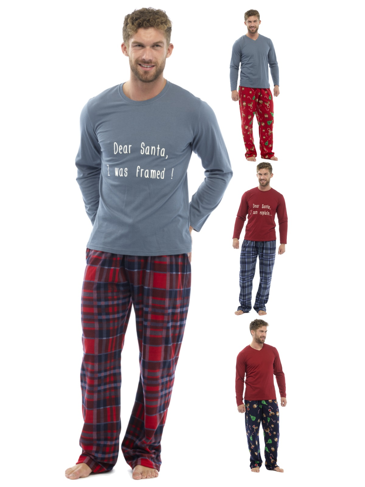 Luxury Mens Pyjamas Novelty Xmas Print Pjs Fleece Lounge Set Gift ...