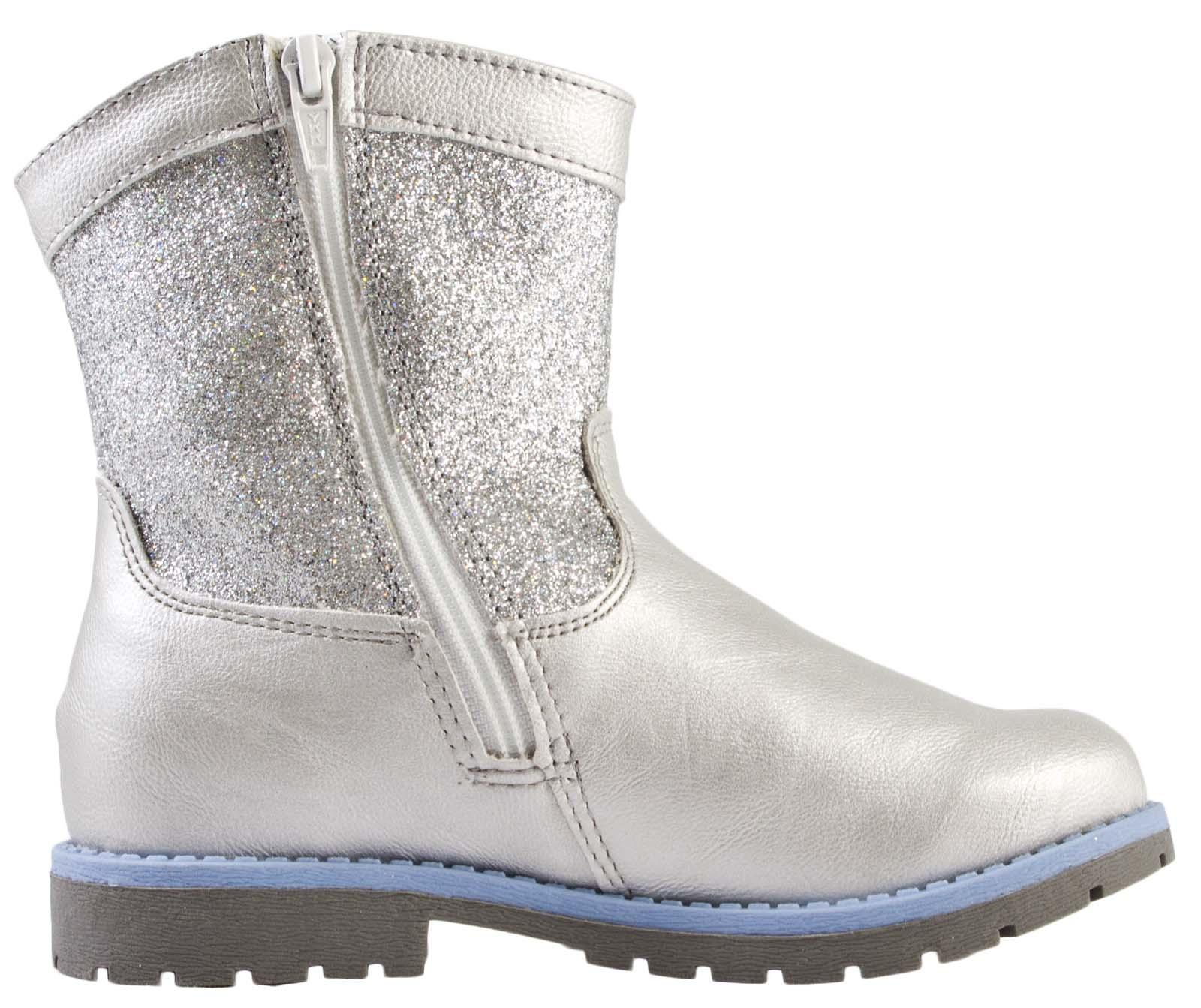 Girls Disney Frozen Warm Winter Boots Faux Fur Trim Snow Shoes ...