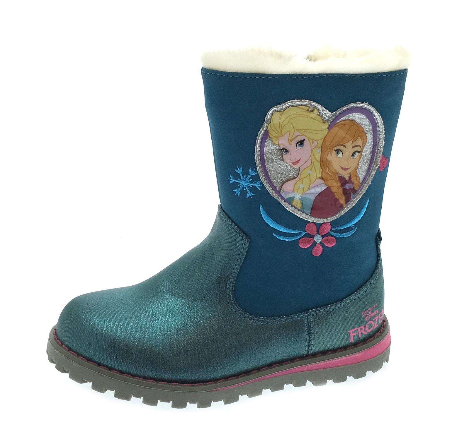 Girls Disney Frozen Warm Winter Boots Faux Fur Trim Snow