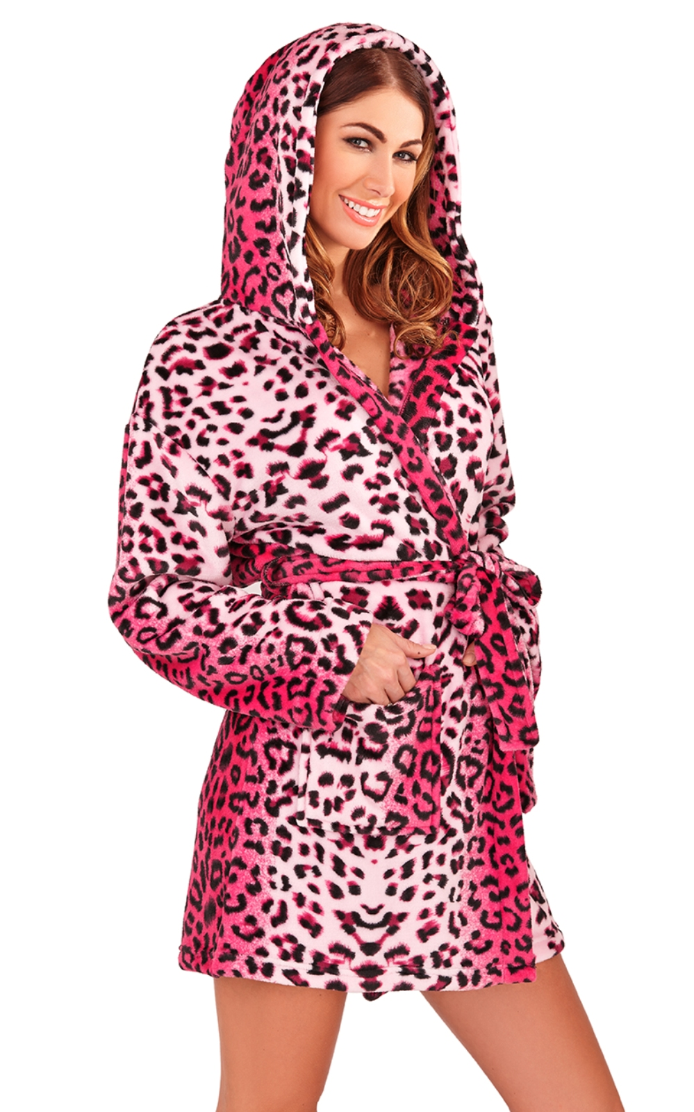 Details about Womens Short Hooded Dressing Gown Bath Robe Housecoat + Belt Ladies Size UK 6-16