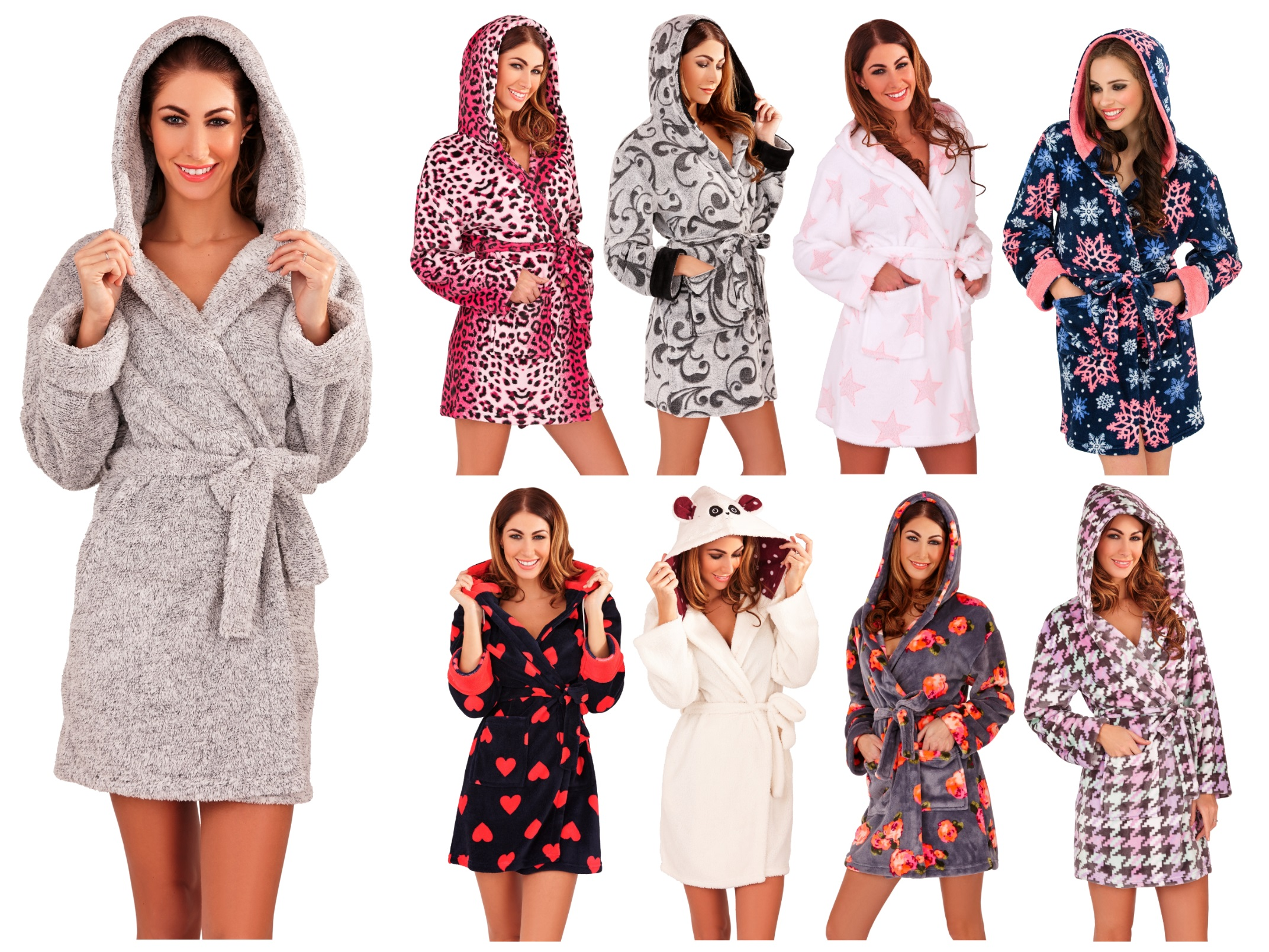 Womens Short Hooded Dressing Gown Bath Robe Housecoat + Belt Ladies ...