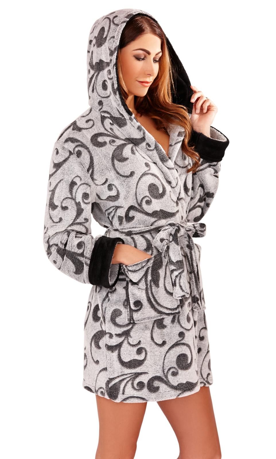 db03139d71 Womens Short Hooded Dressing Gown Bath Robe Housecoat + Belt Ladies ...