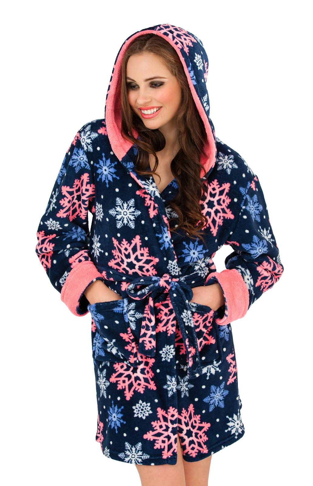 womens short hooded dressing gown bath robe housecoat. Black Bedroom Furniture Sets. Home Design Ideas