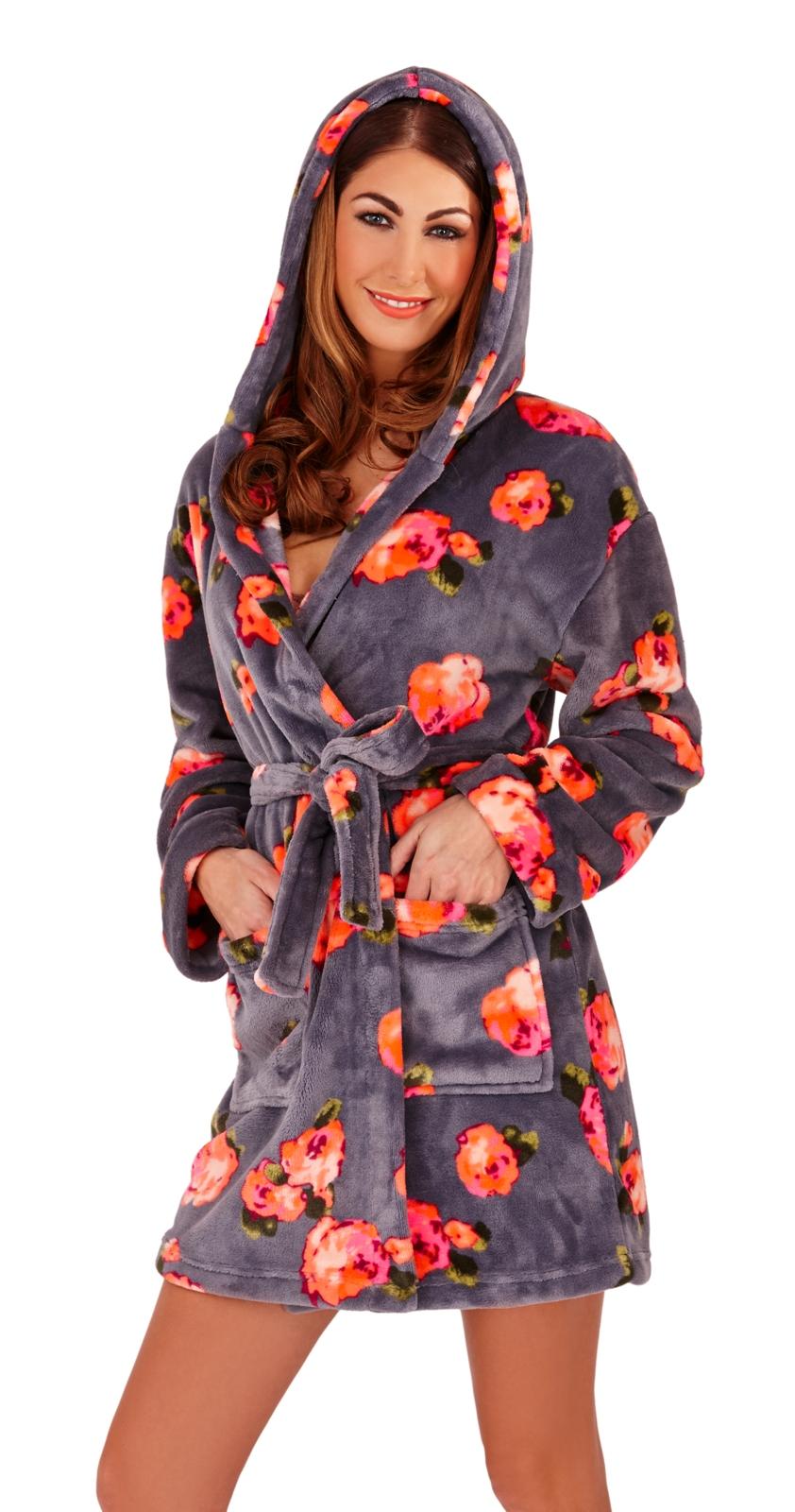 5ece0cc02c Womens Short Hooded Dressing Gown Bath Robe Housecoat + Belt Ladies ...