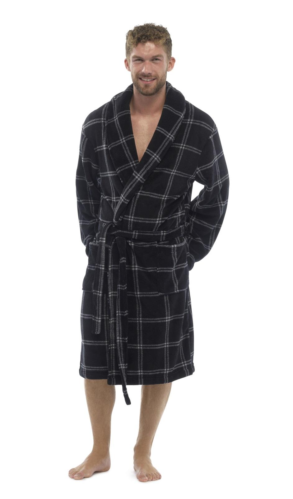 Mens Luxury Full Length Velour Fleece Robe Dressing Gown ...