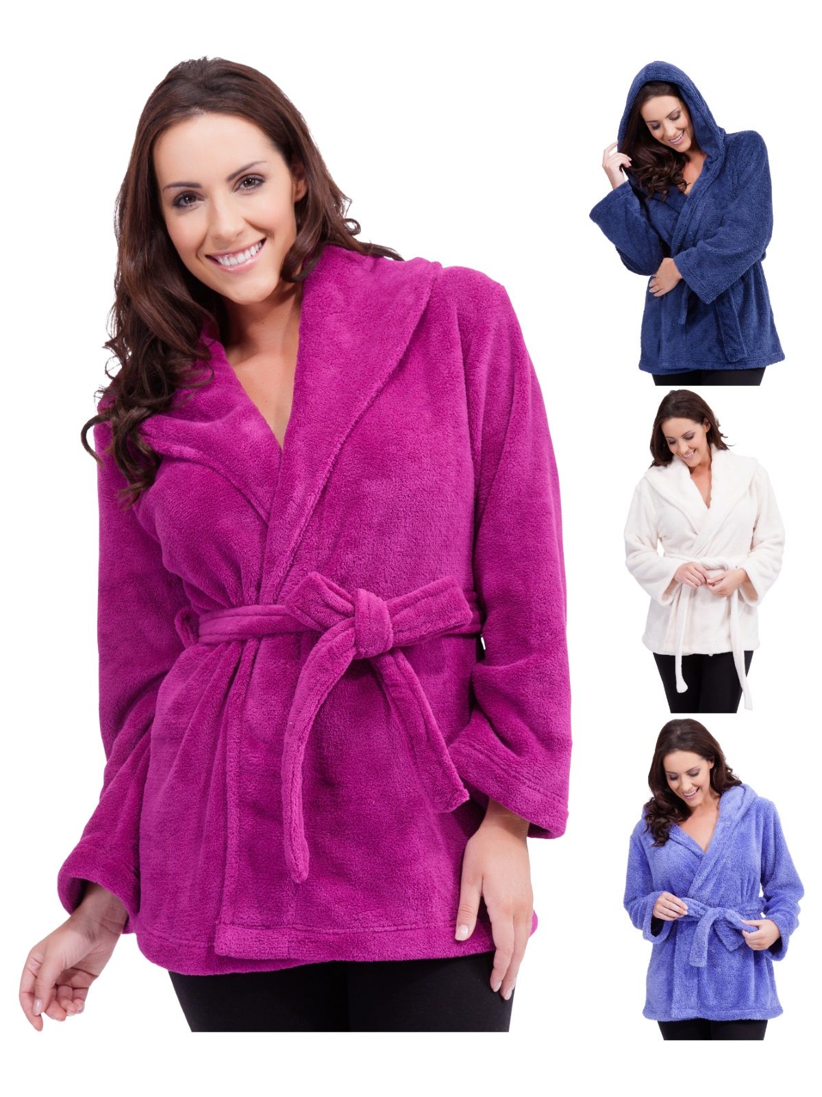 Womens Hooded Fleece Mini Robe Wrap Dressing Gown Lounge Jacket Size ...