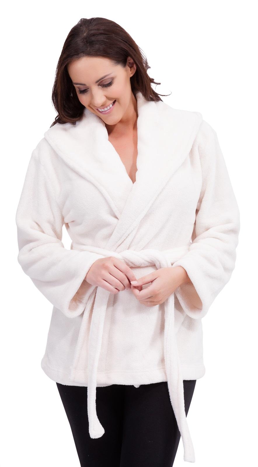 womens hooded fleece mini robe wrap dressing gown lounge. Black Bedroom Furniture Sets. Home Design Ideas