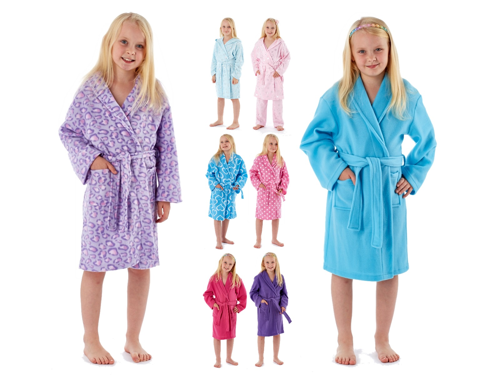 MyShoeStore Kids Boys Girls Bathrobe % Egyptian Cotton Luxury Velour Towelling Hooded Dressing Gown Soft Fine Comfortable Nightwear Terry Towel Bath Robe Lounge Wear Housecoat.