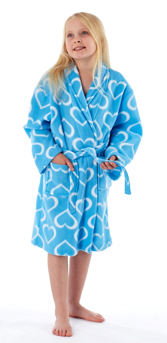 Kids Girls Fleece Dressing Gown Bath Robe Housecoat Childrens Xmas ...