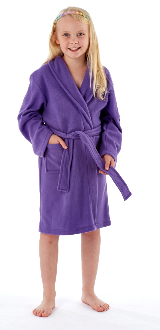 Kids Girls Fleece Dressing Gown Bath Robe Housecoat Childrens Xmas ...
