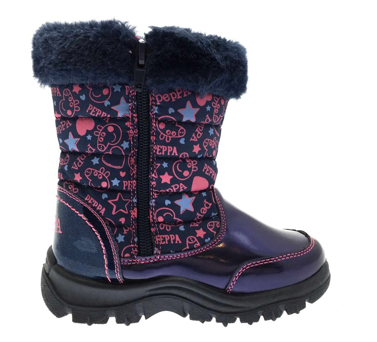 Girls Peppa Pig Snow Boots Warm Winter Faux Fur Trim Mid Calf ...