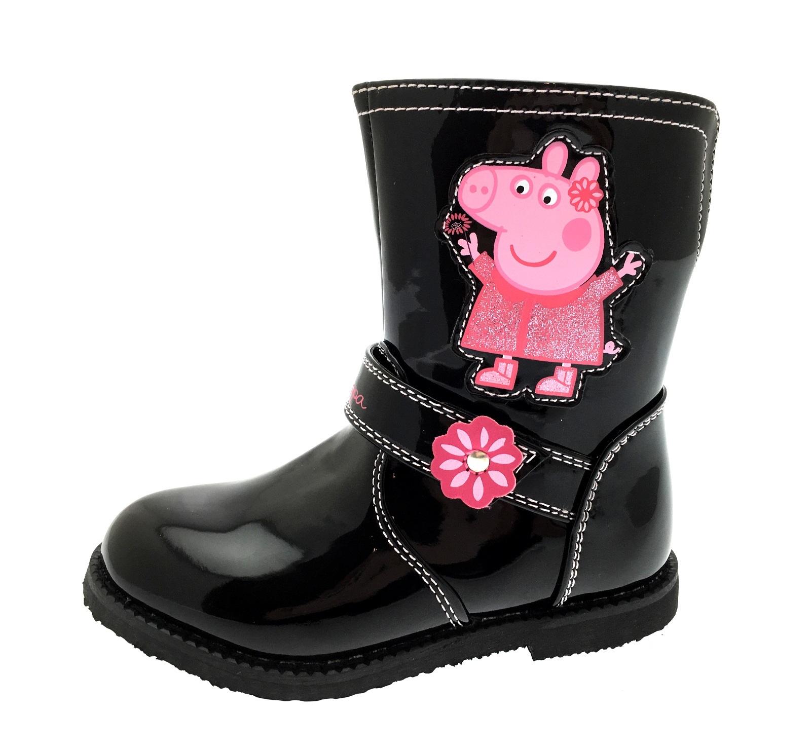 girls peppa pig boots mid calf warm winter glitter character shoes kids size