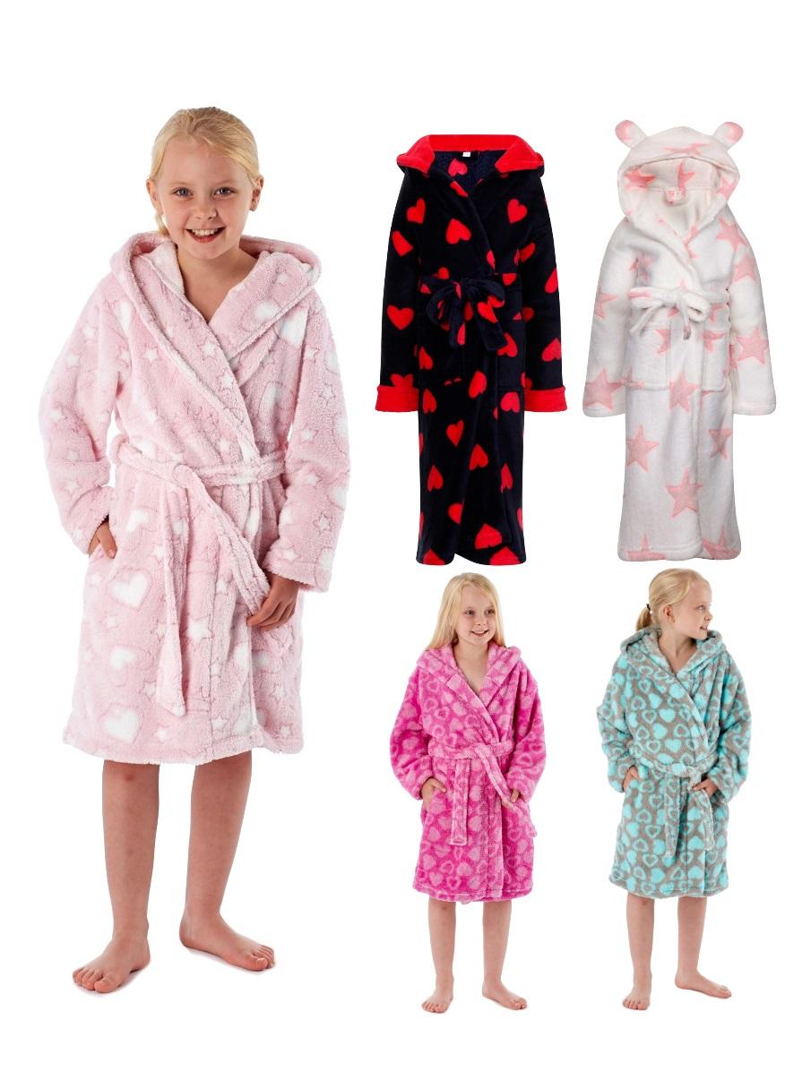 Kids Girls Luxury Novelty Fleece Dressing Gown Bath Robe Xmas Gift ...