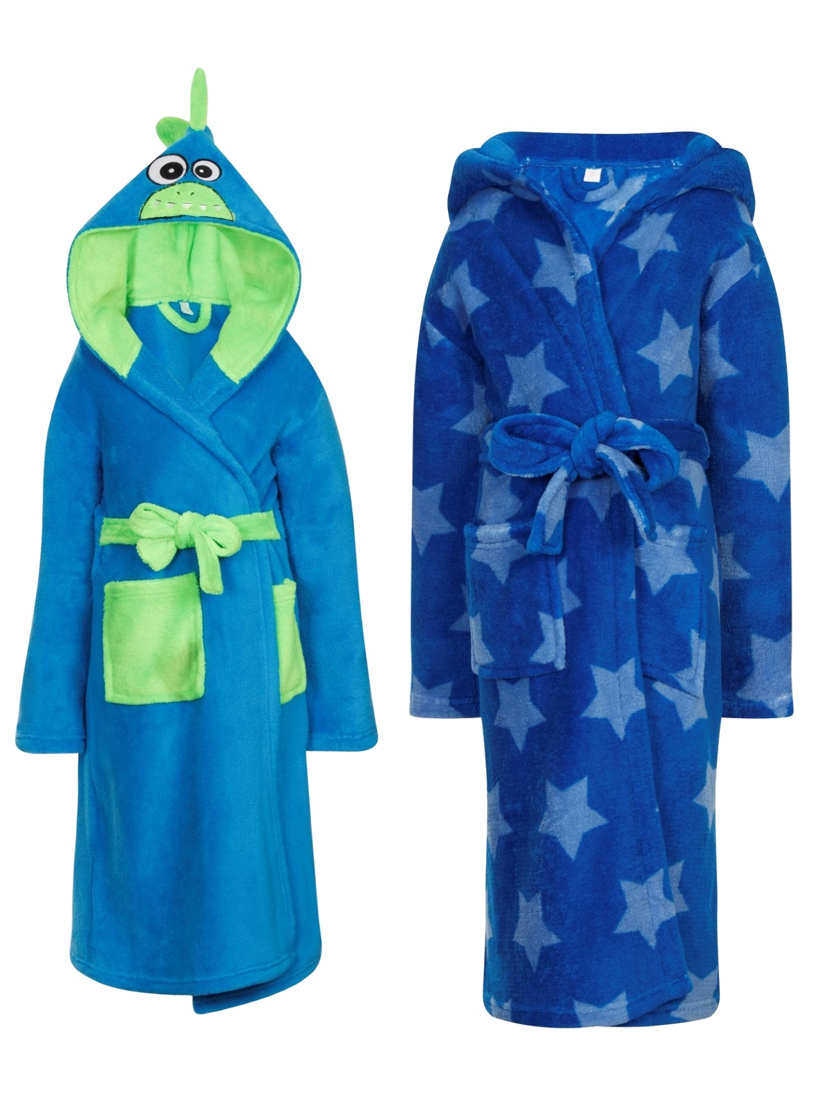 Types of boys' bathrobes. Boys' bathrobes are available in a variety of materials such as terry cloth, fleece, and cotton. Terry cloth is absorbent, like a towel, while fleece is a fluffy fabric. Cotton is a lightweight material that's thinner than other robe fabrics.