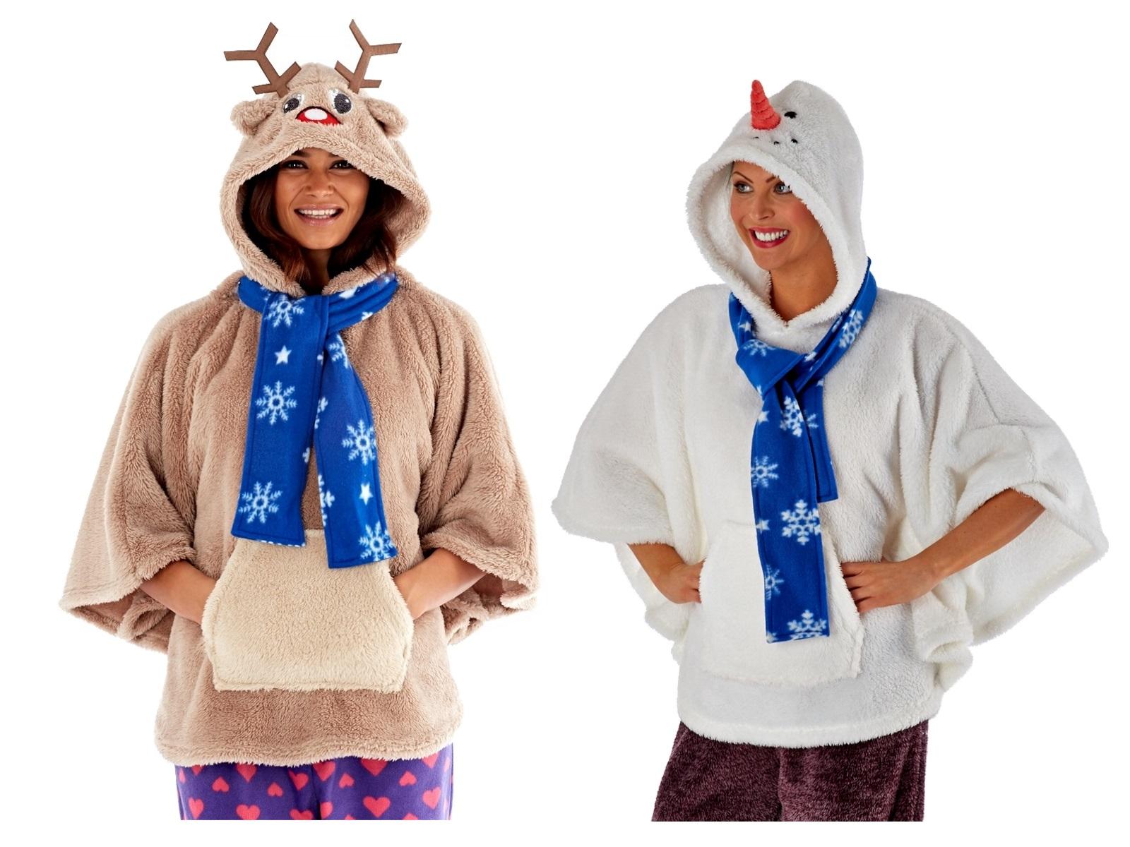 womens ladies hooded novelty 3d fleece poncho snowman. Black Bedroom Furniture Sets. Home Design Ideas