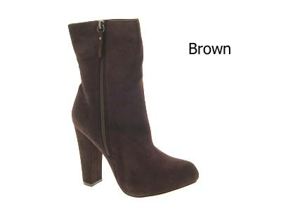 WOMENS BLOCK HEEL BOOTS LADIES BLACK BROWN SIZE 3 - 8