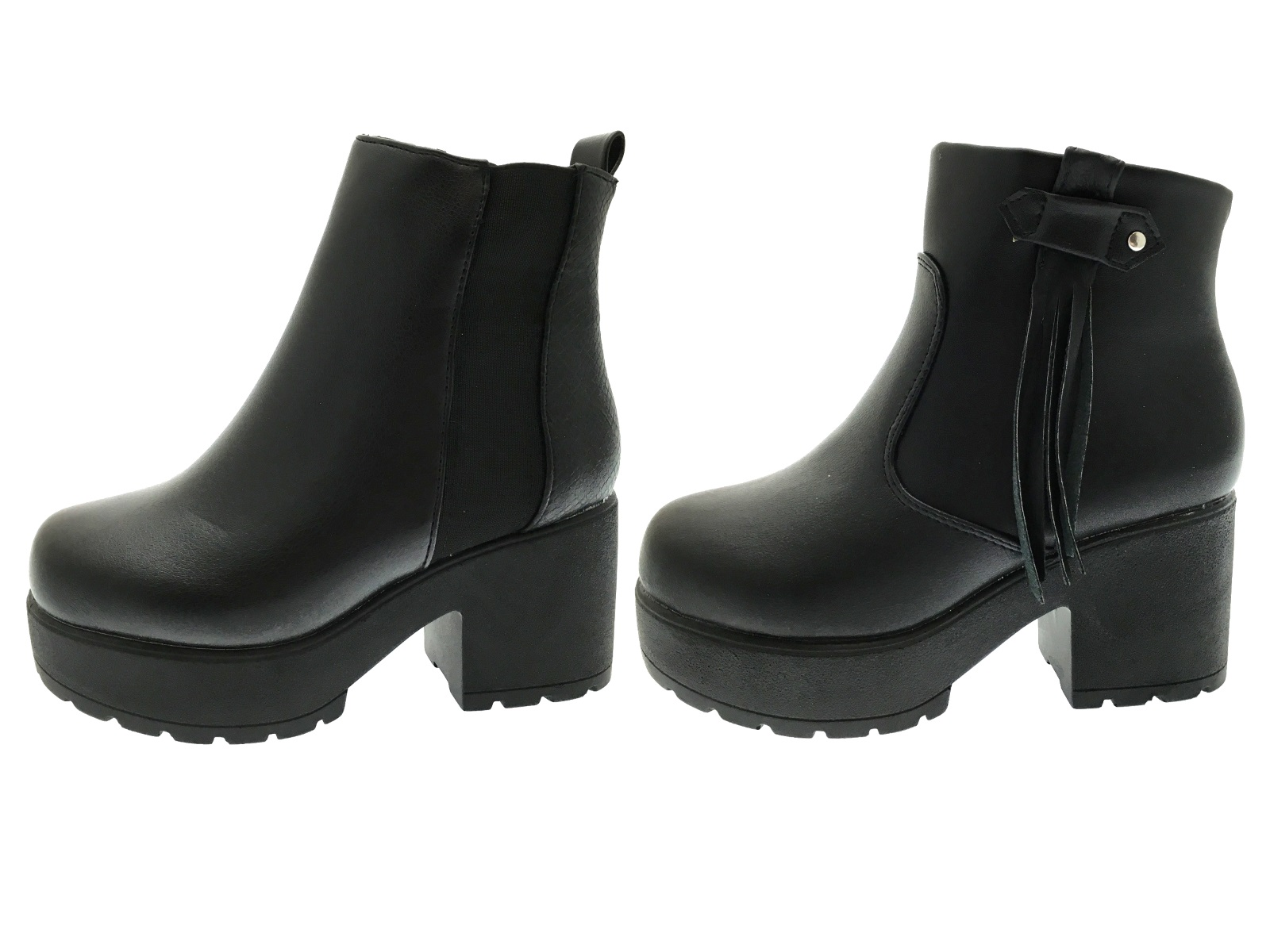 kids girls mid chunky block heel chelsea low ankle boots platforms