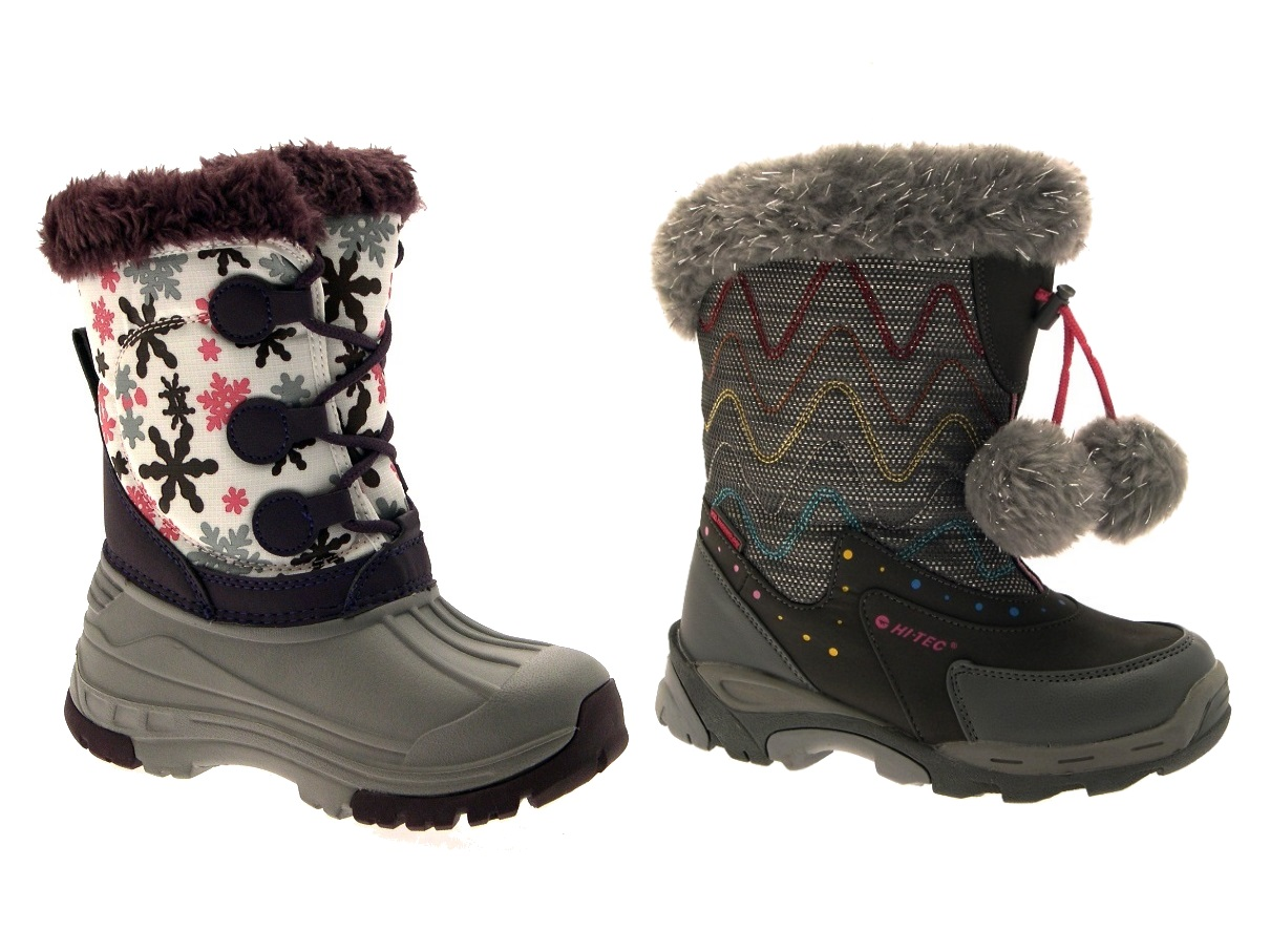 Hi Tec Kids Girls Waterproof Snow Boots Warm Winter Flat