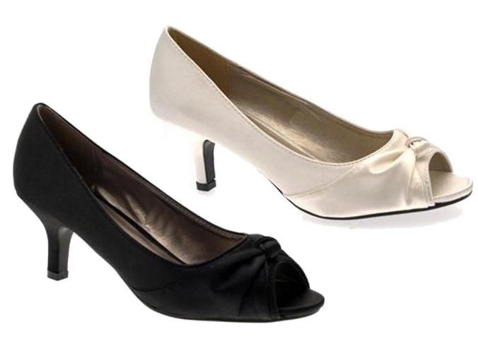 womens satin bridal wedding shoes low heel comfort peep