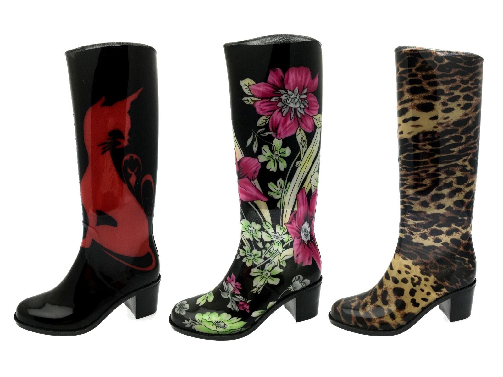 womens high heel wellies waterproof wellington boots snow