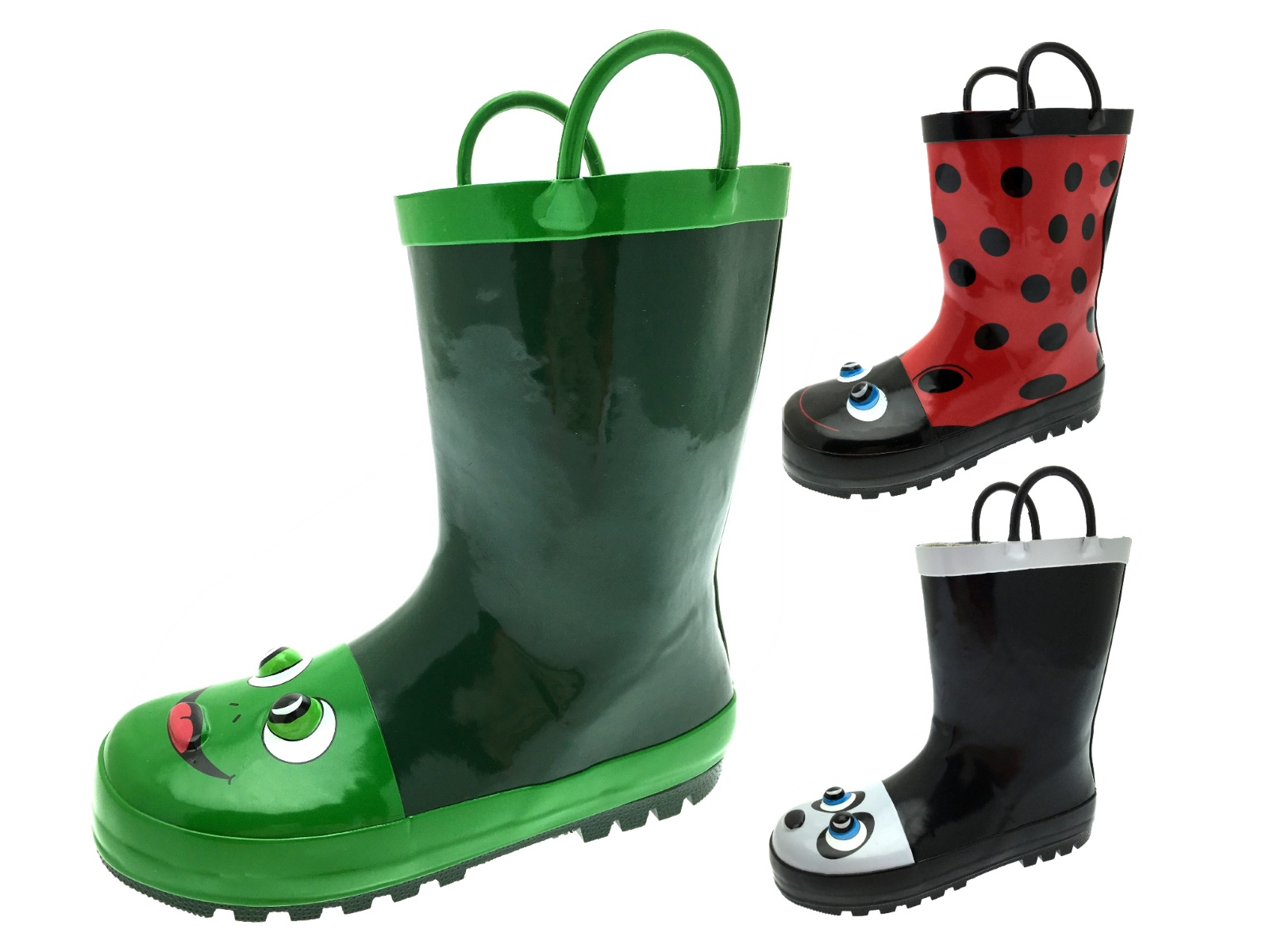 Kids Girls Boys 3D Wellington Boots Snow Rain Wellies Pull On Handles Size 9-2