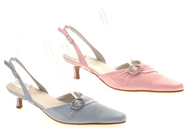 womens diamante wedding bridal shoes low kitten heels