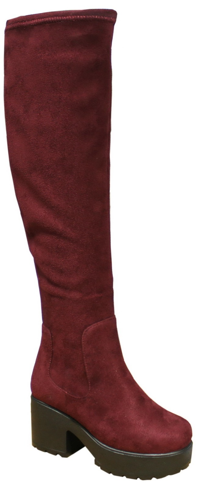 Kids Girls Chunky Block Heel Chelsea Over Knee High Boots ...