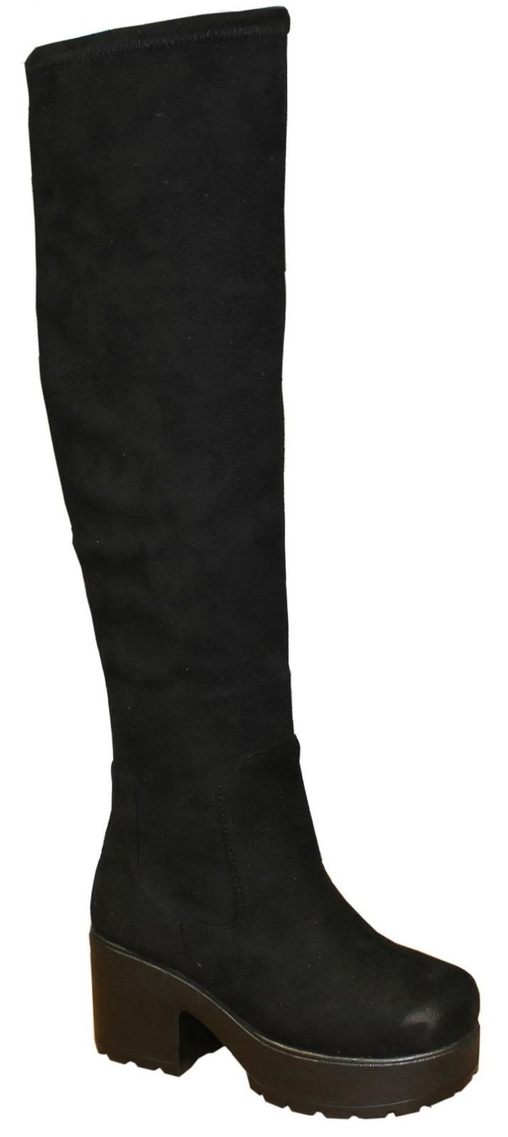 chunky block heel chelsea knee high boots