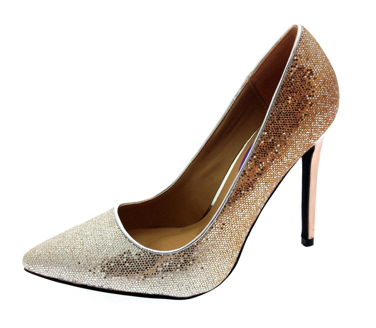 Womens Glitter High Heels Two Tone Stiletto Court Shoes Pointed ...