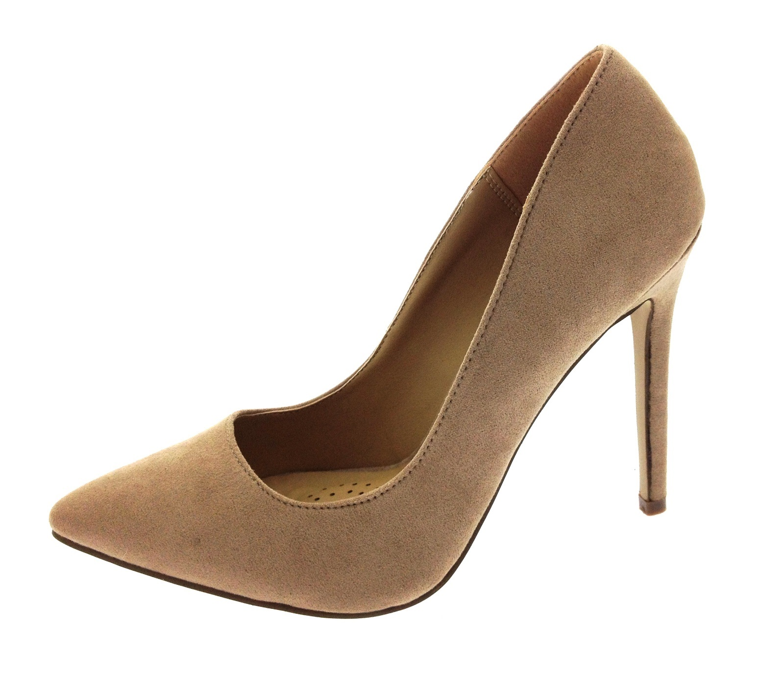 Womens Faux Suede High Heels Stilettos Court Shoes Pointed Toe ...