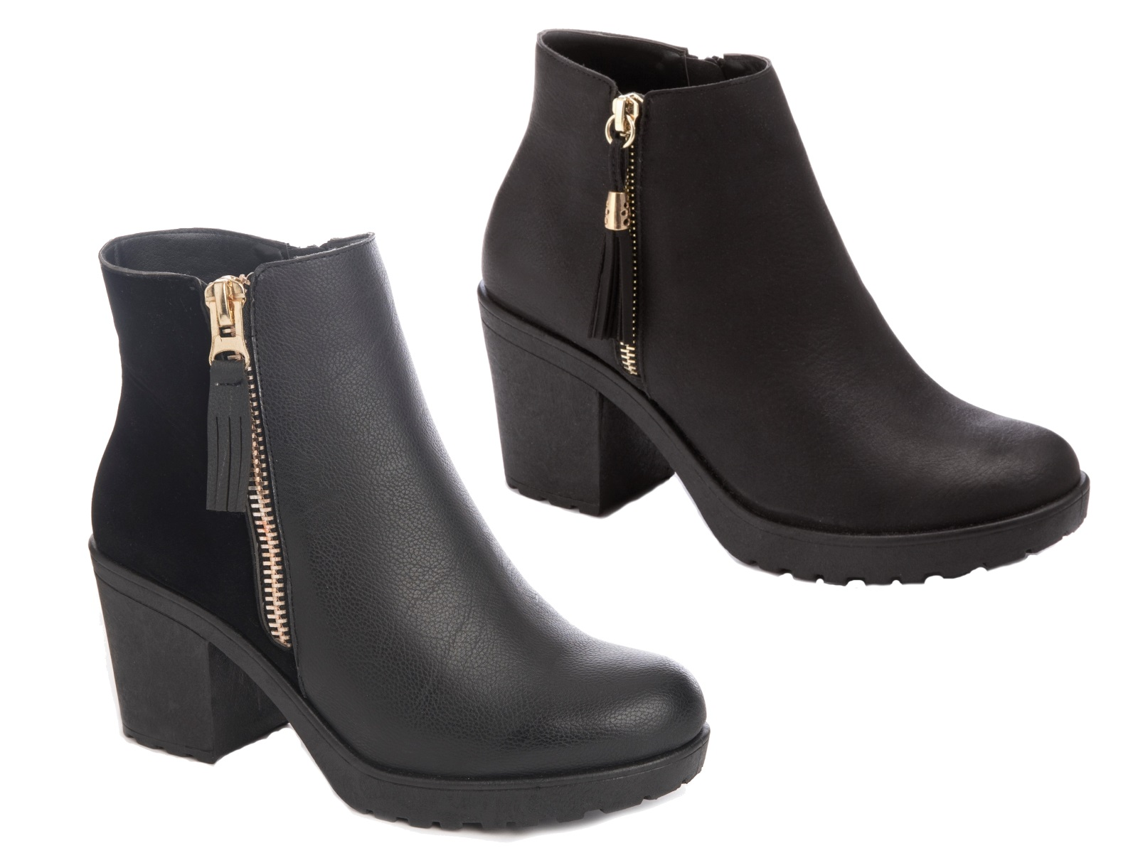 womens chelsea ankle boots with tassels faux leather chunky block heels