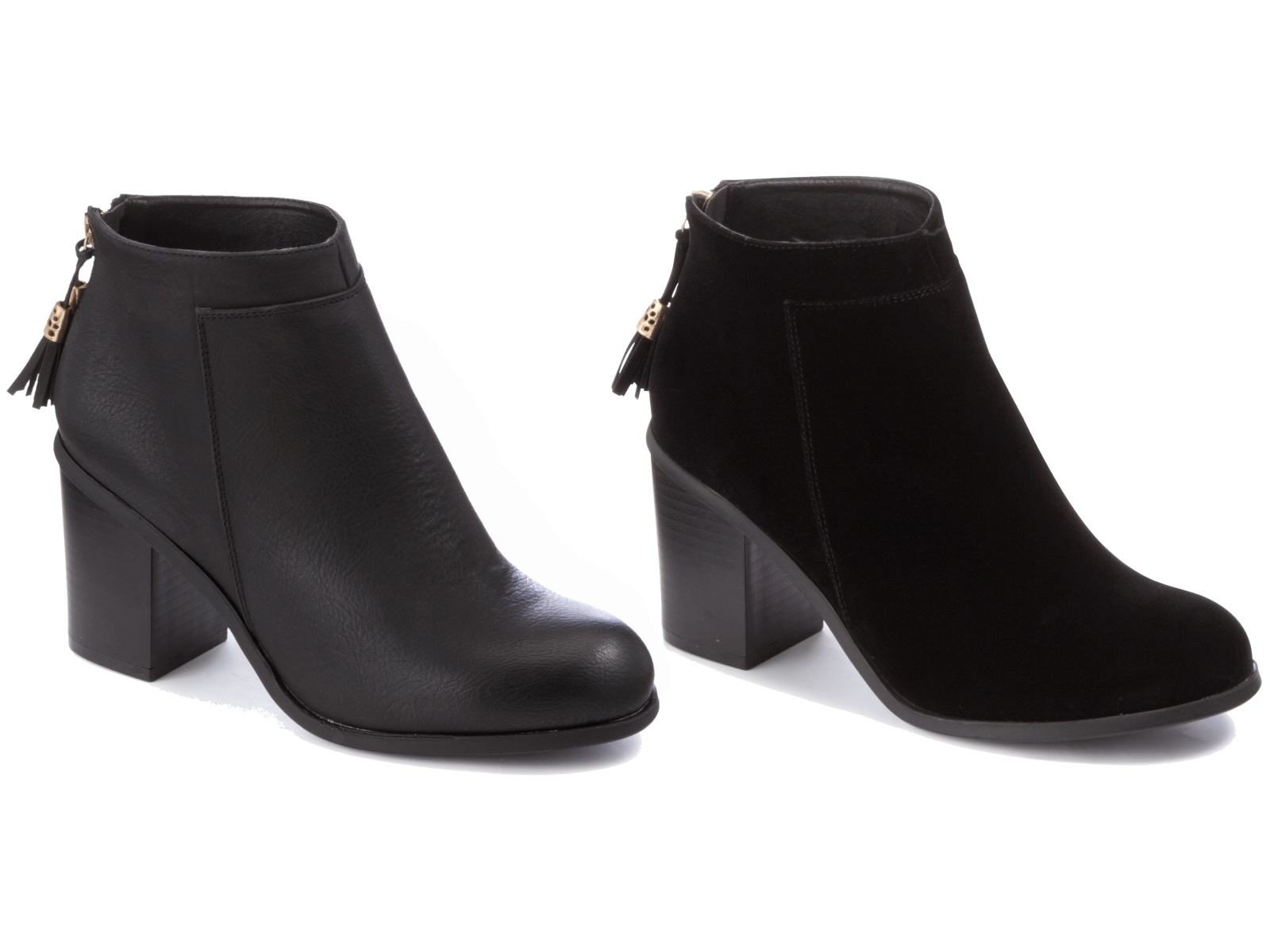 Womens black ankle boots comfortable block heels chelsea for Black block