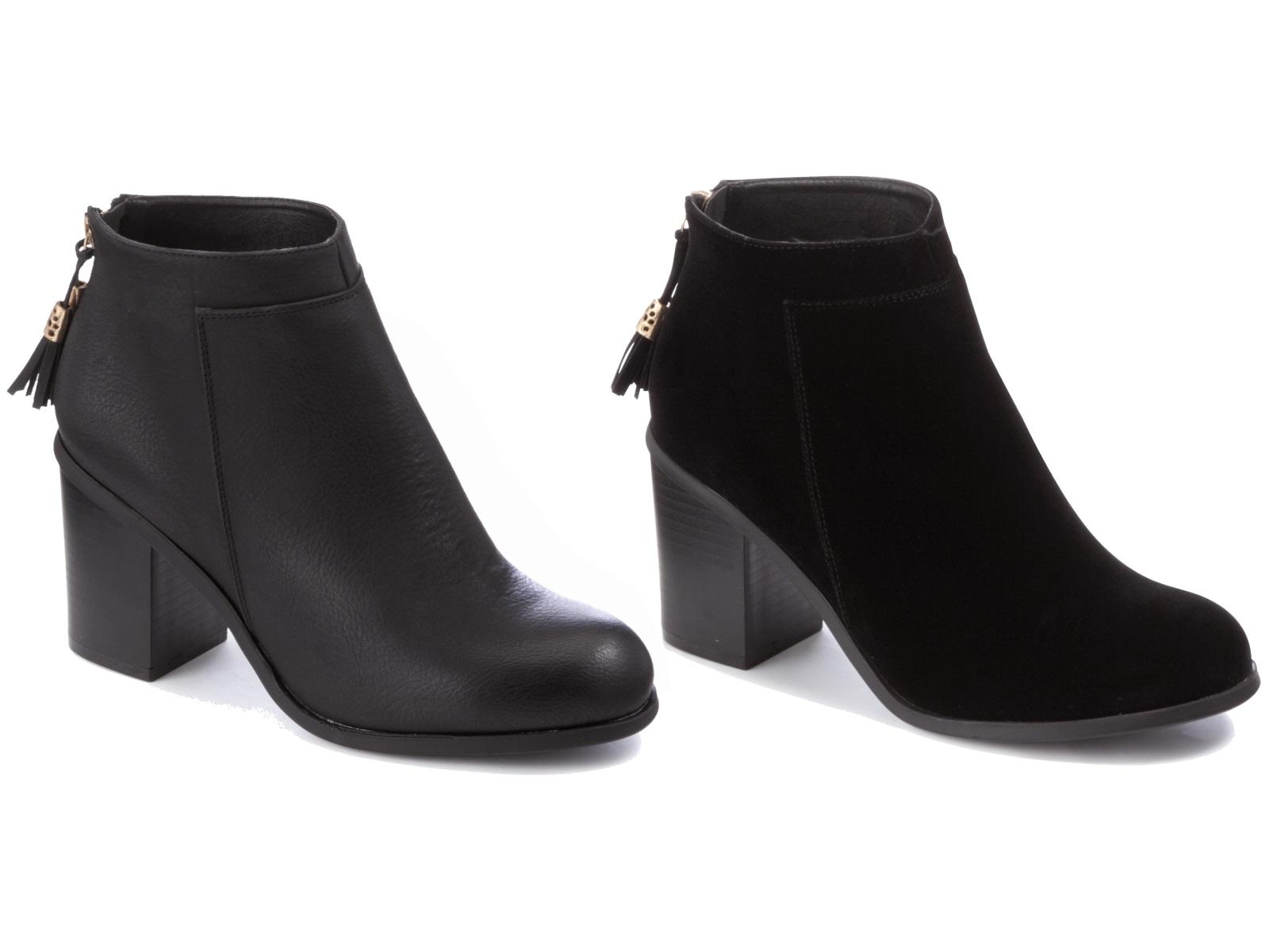 womens black ankle boots comfortable block heels chelsea