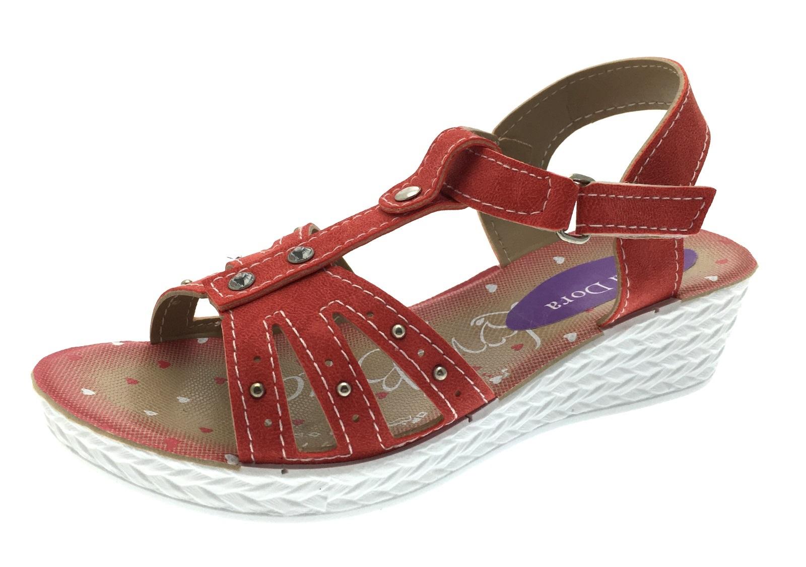 Girls sandals - Girls Sandals Adjustable Strap Low Wedge Party Shoes Flower T Bar Wedges Kids