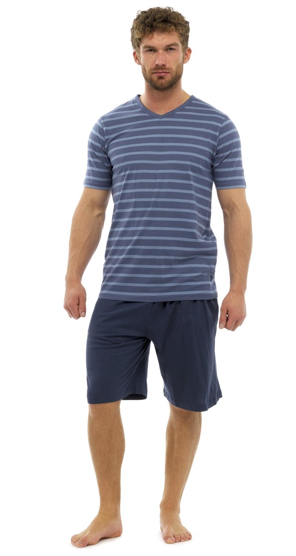 Mens stripe 100 cotton pyjamas set shorts short sleeve T shirt and shorts pyjamas