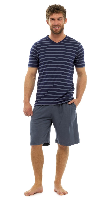 mens stripe 100 cotton pyjamas set shorts short sleeve