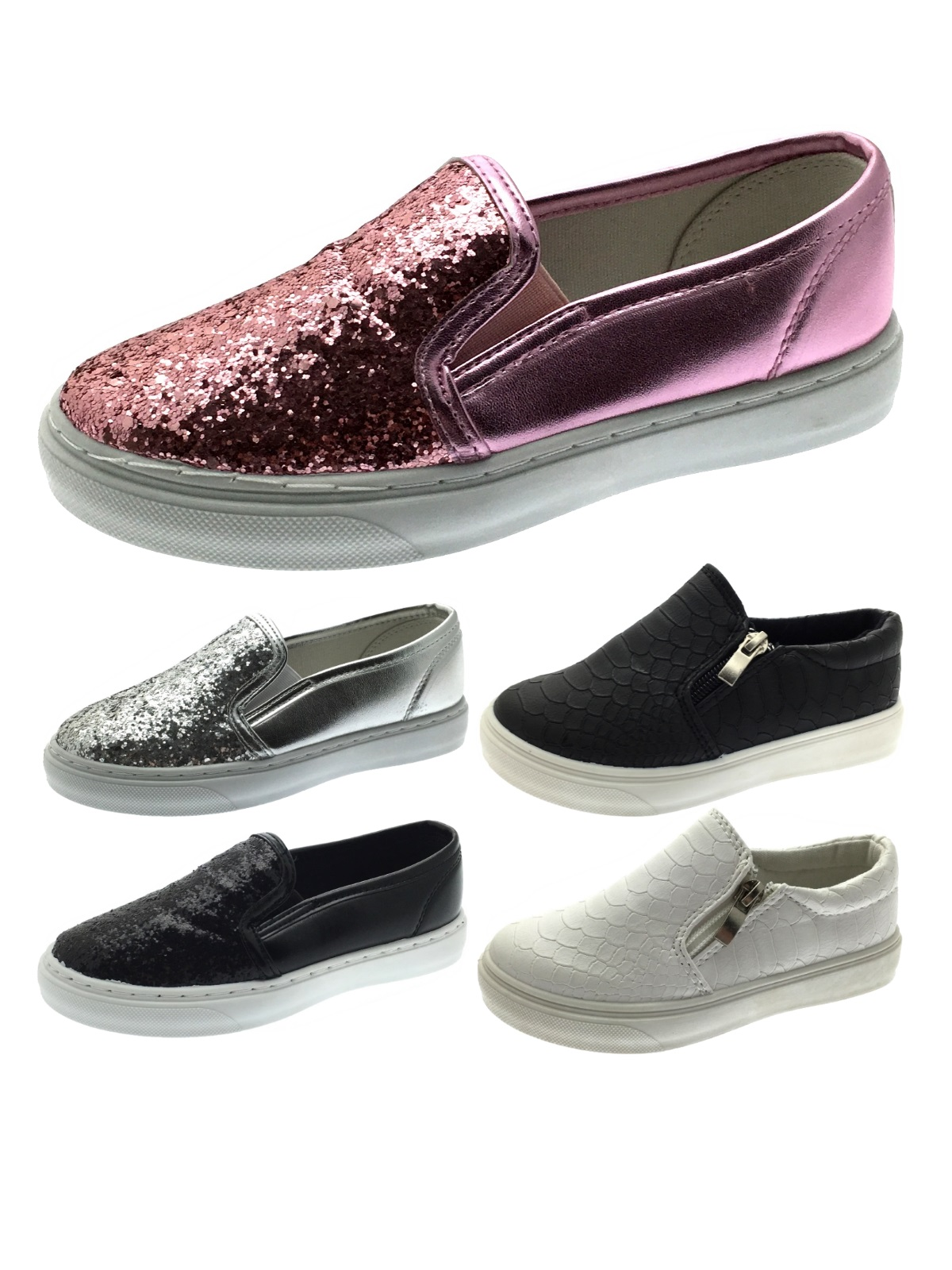 Girls Glitter Skate Pumps Kids Slip On Trainers Flat Plimsolls Shoes With Zips