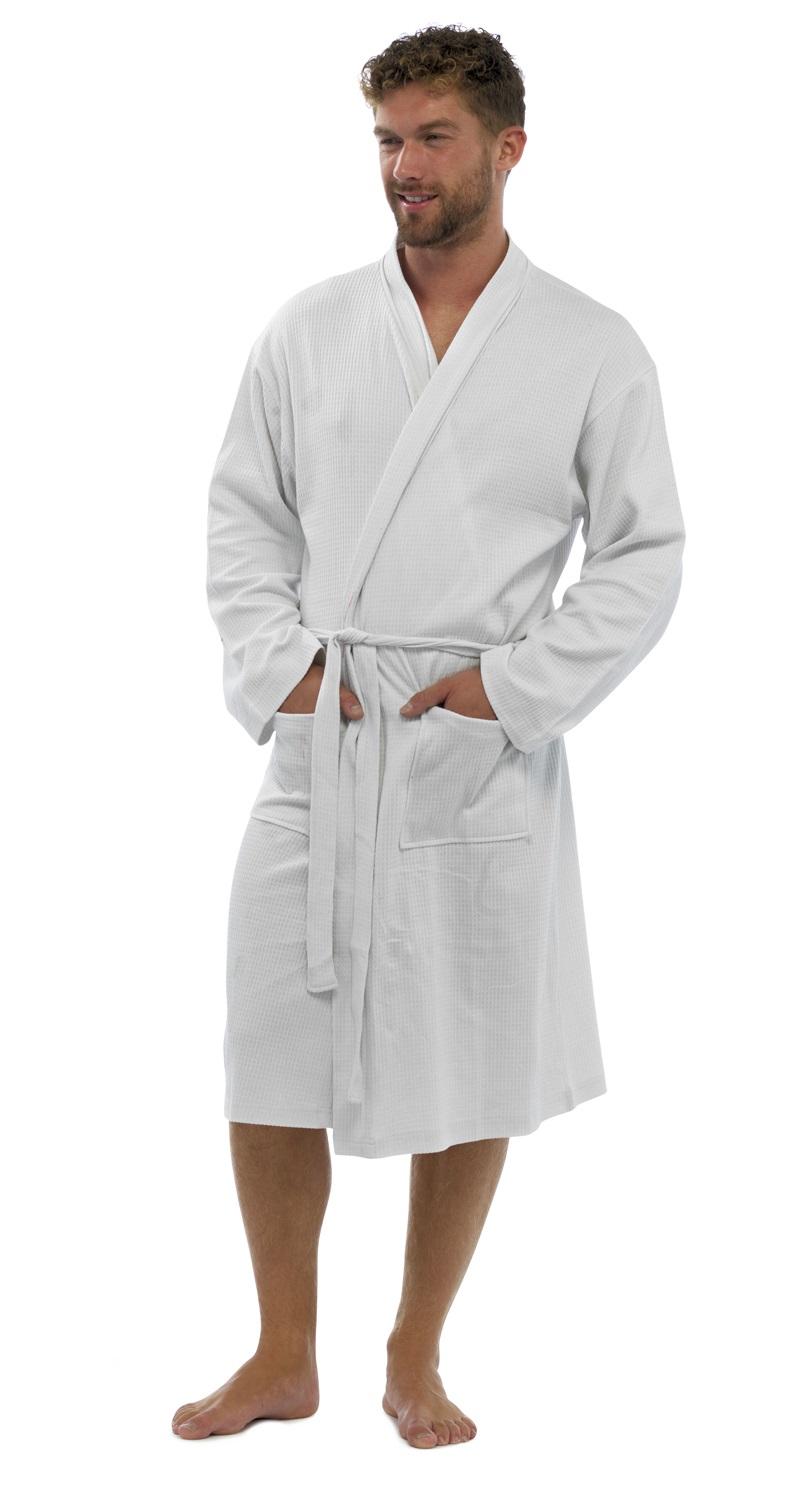 mens 100 cotton waffle robe bathrobe dressing gown belted. Black Bedroom Furniture Sets. Home Design Ideas