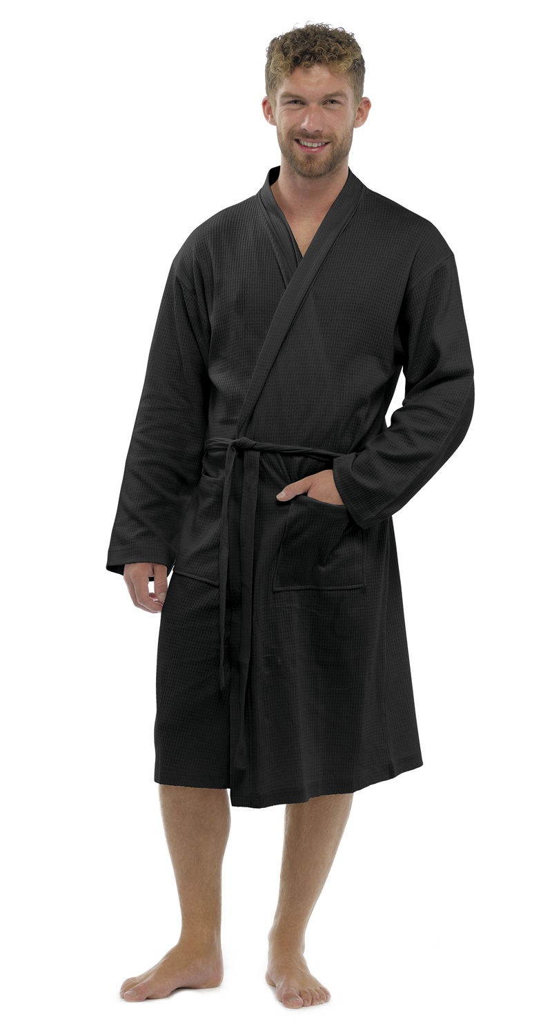 Mens 100% Cotton Waffle Robe Bathrobe Dressing Gown Belted ...