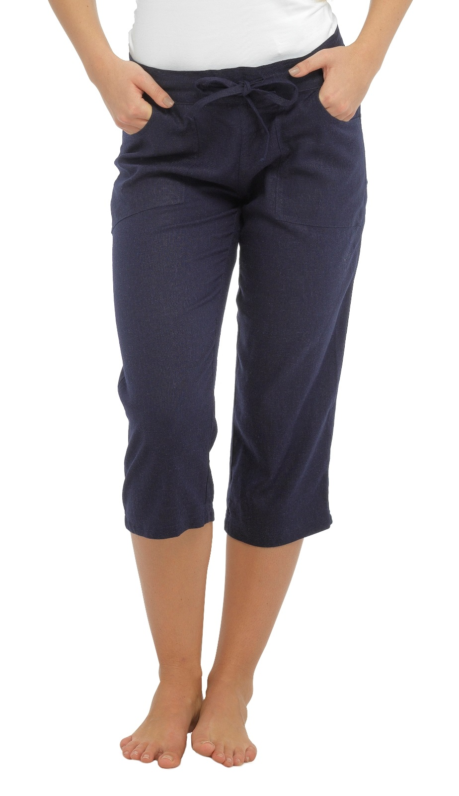 Womens Linen Trousers Cropped Capri or Full Length Pants Casual ...