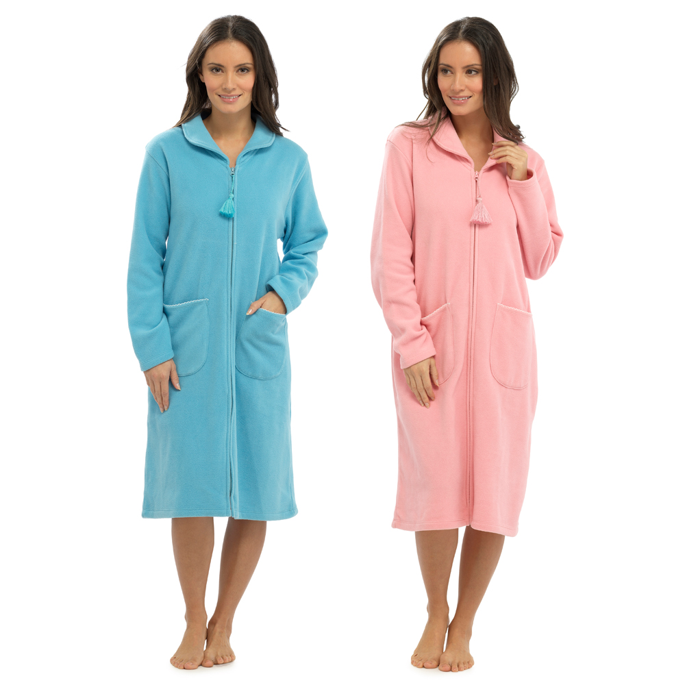 Womens Full Length Fleece Dressing Gown With Zip Long Robe Housecoat