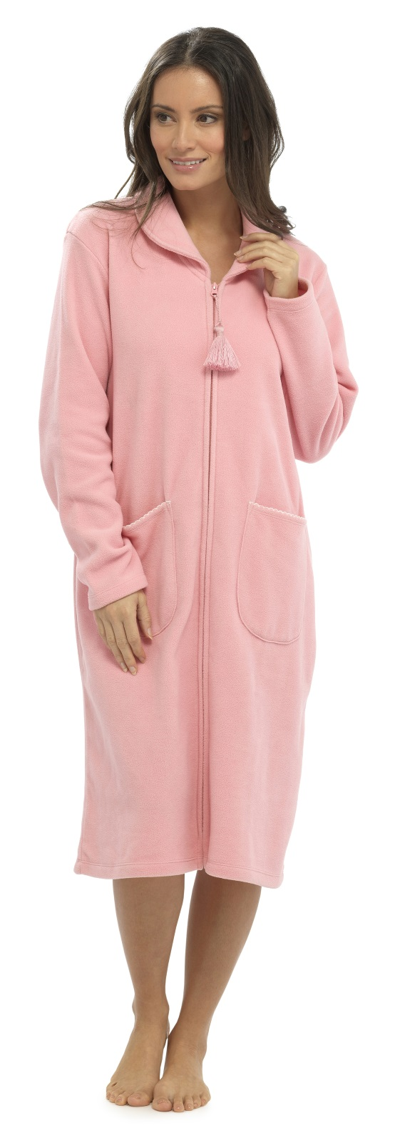 Womens Full Length Fleece Dressing Gown With Zip Long Robe Housecoat ...