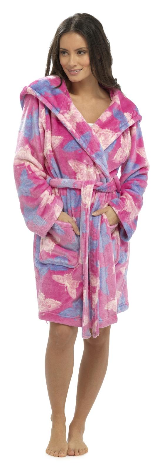 Womens Hooded Dressing Gown Knee Length Bath Robe Housecoat + Belt ...