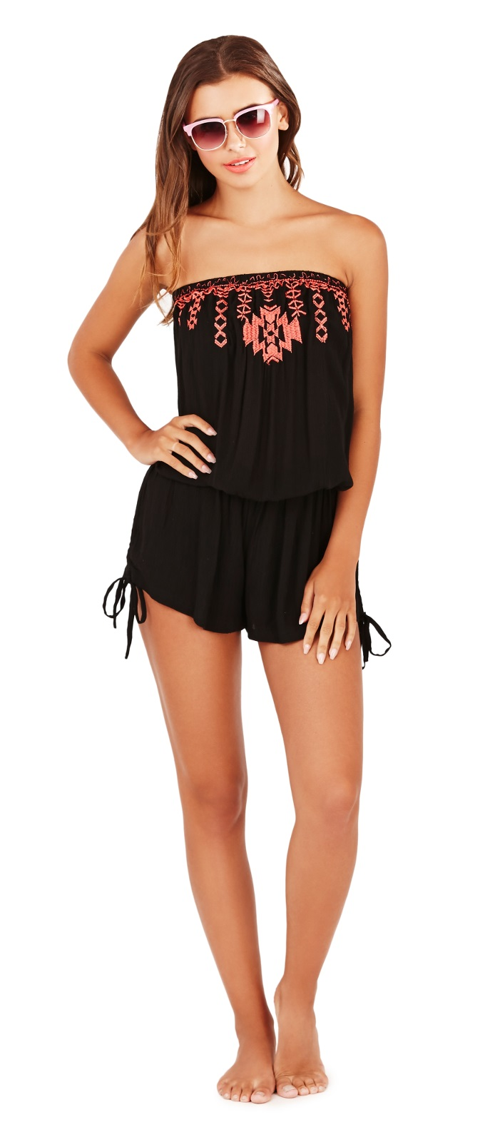 womens strapless playsuit beach cover up bandeau jumpsuit