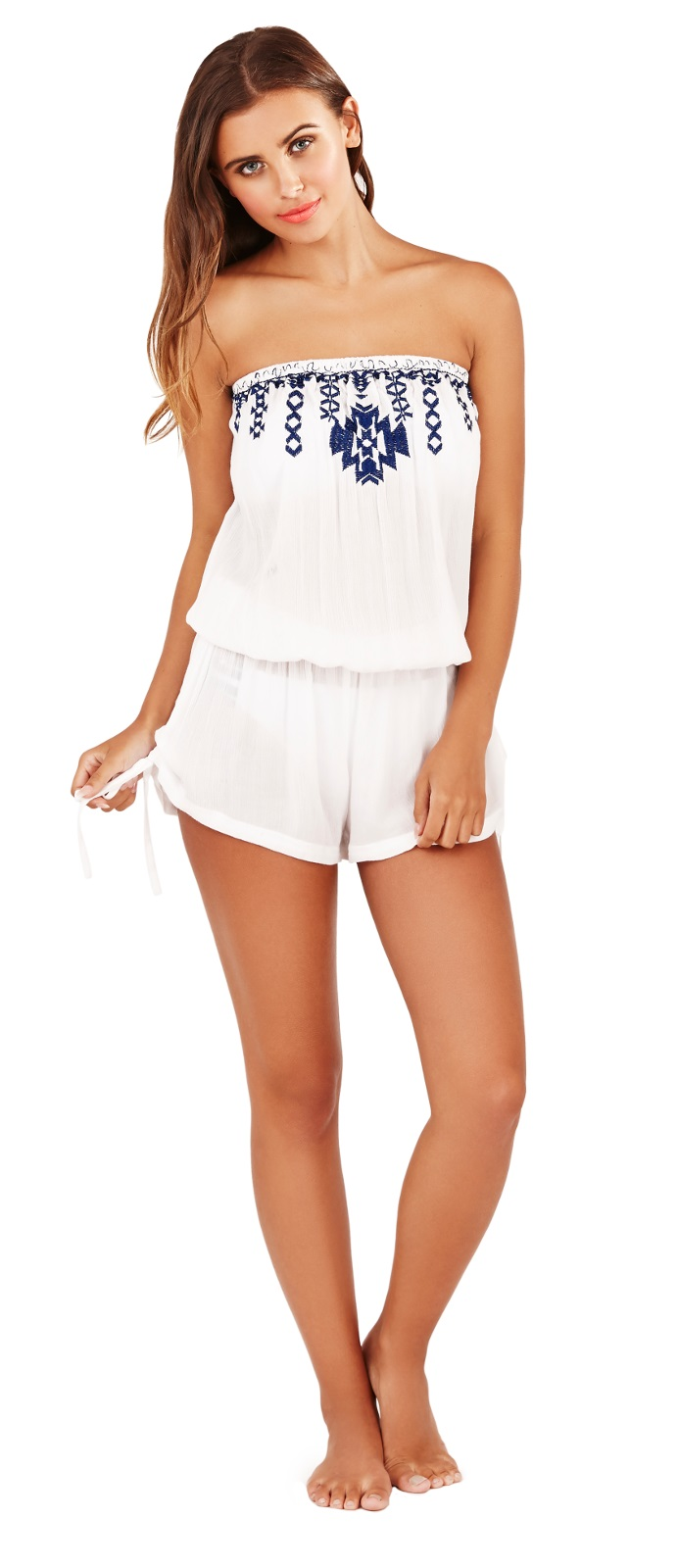 Womens Strapless Playsuit Beach Cover Up Bandeau Jumpsuit Shorts